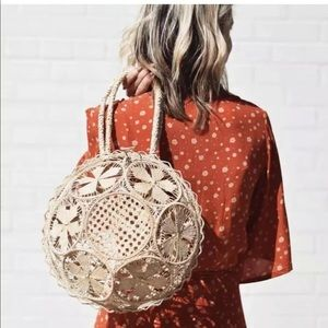 Anthropologie NWT circle woven basket bag purse
